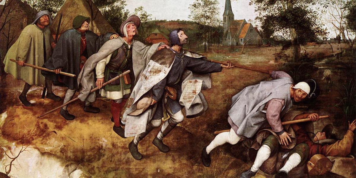 Pieter Bruegel d. Ä. (um 1525/30–1569 Brüssel): »De parabel der blinden«, 1568 (Ausschnitt). Tempera auf Leinwand, 86×154cm. Napoli, Museo Nazionale diCapodimonte Public Domain