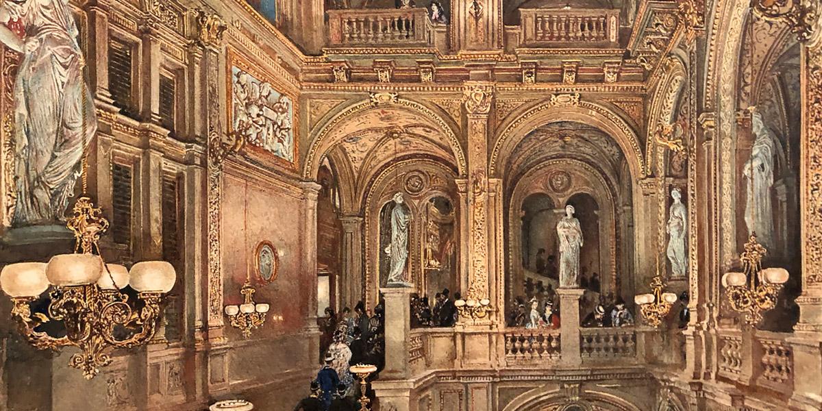 Rudolf von Alt: »Das Treppenhaus des k.k. Hof-Operntheaters«. Aquarell, 1873 (Ausschnitt) © Fürstliche Sammlungen Liechtenstein, Wien – Vaduz (Foto: Thomas Prochazka)